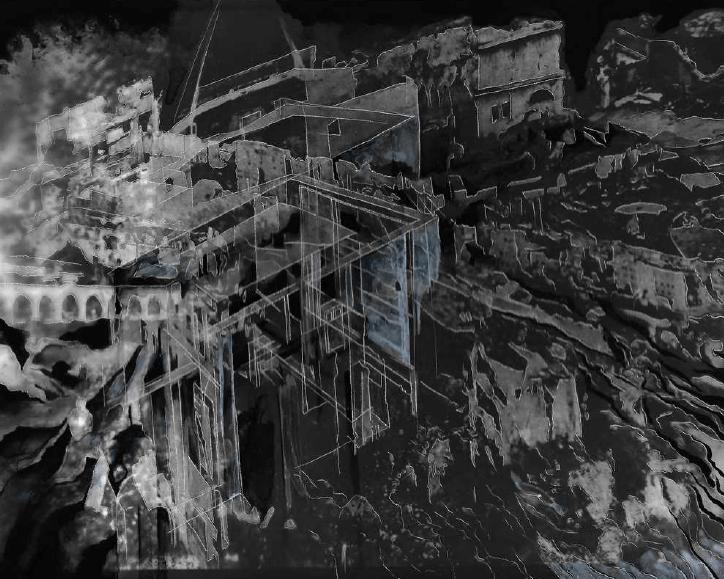 Creuser l'image #13, Guénaëlle de Carbonnières, gravure à la pointe sèche et encre sur tirage argentique, 20,4 x 25,3 cm, 2020